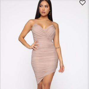 """Come Closer Ruched Dress"" in taupe"